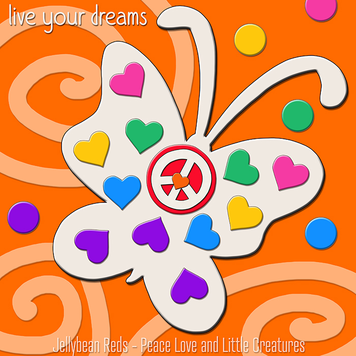 Ghost-Butterfly Jelly-Style with Rainbow Hearts and Peace Sign