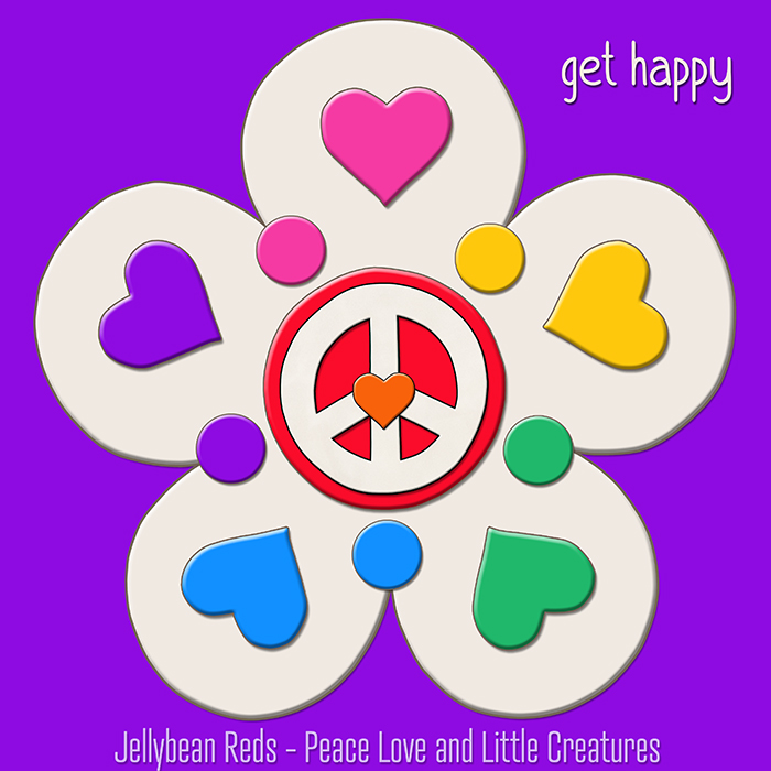 Ghost-Flower Jelly-Style with Rainbow Hearts and Peace Sign