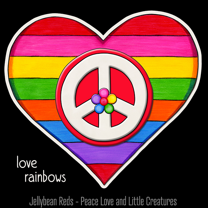Rainbow Heart with Peace Sign and Jelly Flower