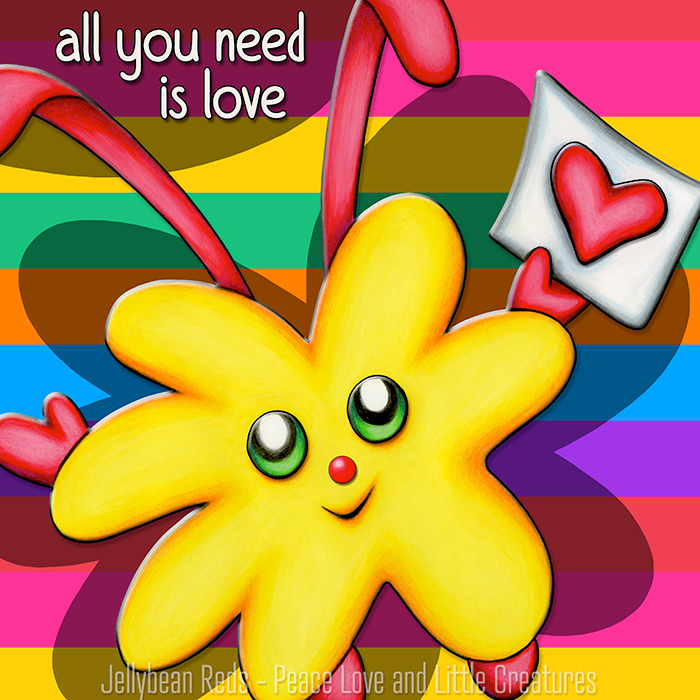 All You Need is Love - Yellow Weekle with Heart and Rainbow Background