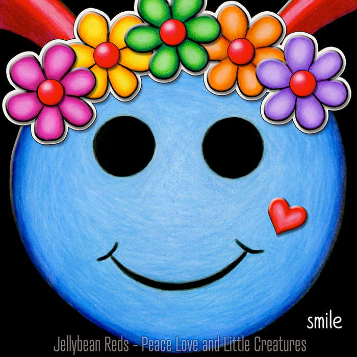 Blue Smiley with Rainbow Flowers