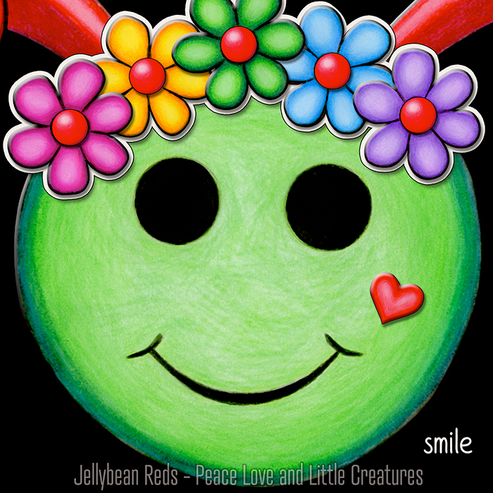Green Smiley with Rainbow Flowers