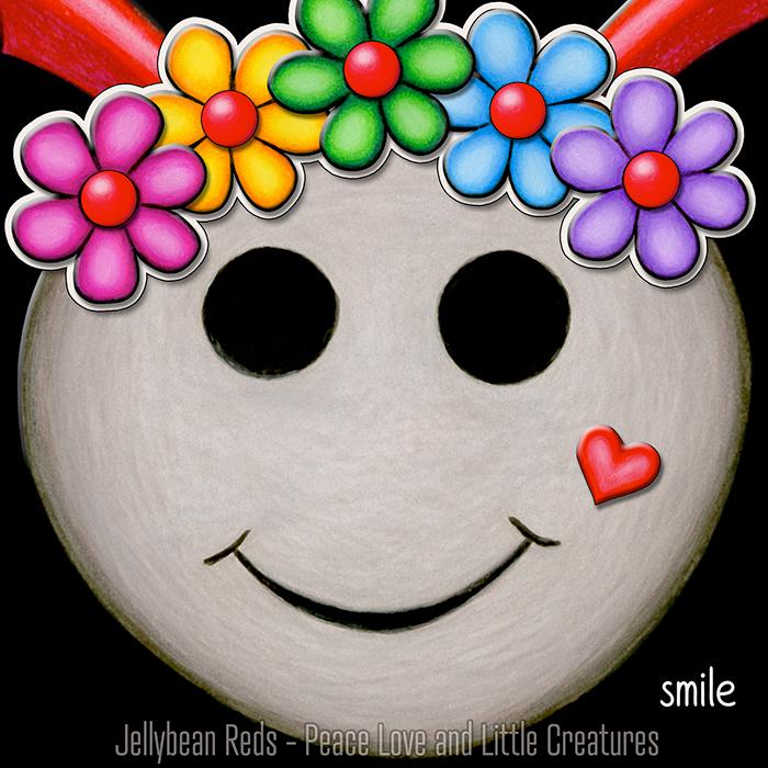 Mocha Smiley with Rainbow Flowers