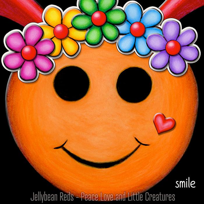 Orange Smiley with Rainbow Flowers
