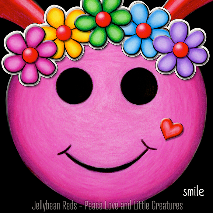 Pink Smiley with Rainbow Flowers
