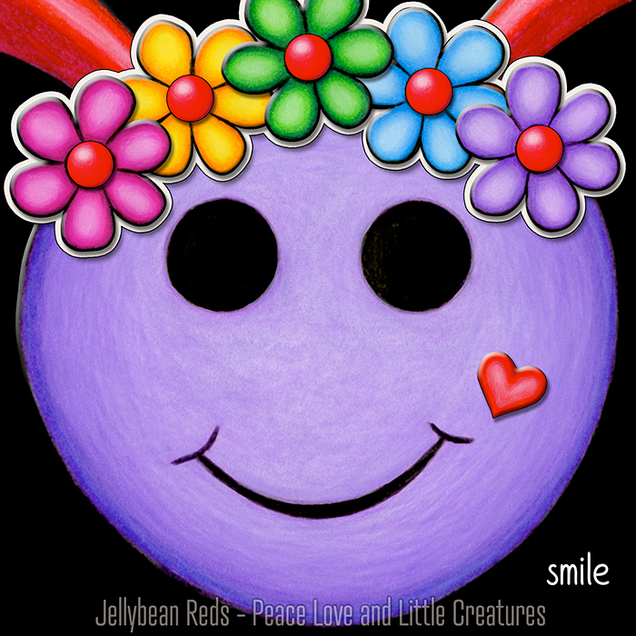 Violet Smiley with Rainbow Flowers