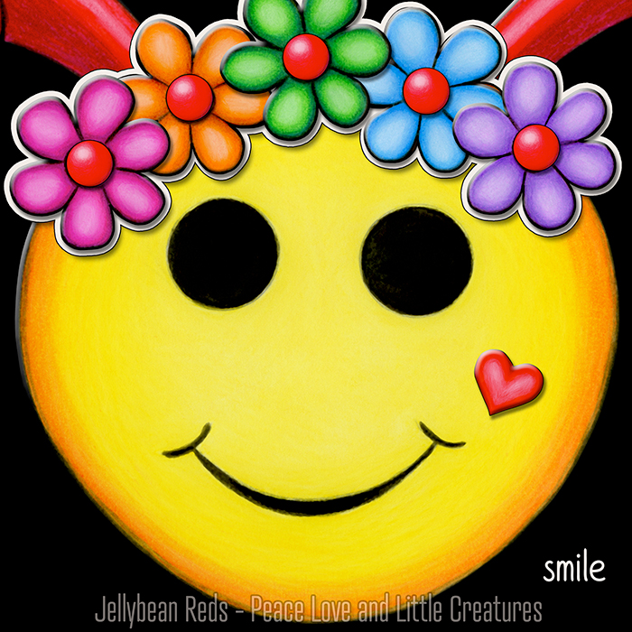 Yellow Smiley with Rainbow Flowers