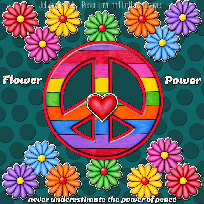 Rainbow Peace Sign with Rainbow Flowers