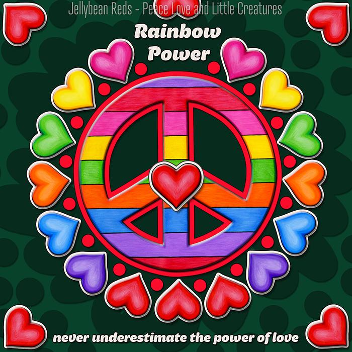 Rainbow Peace Sign with Rainbow Hearts
