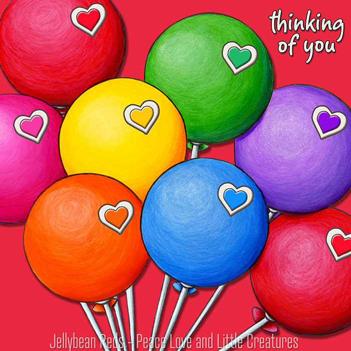 Rainbow Balloons with Rainbow Hearts - Thinking of You