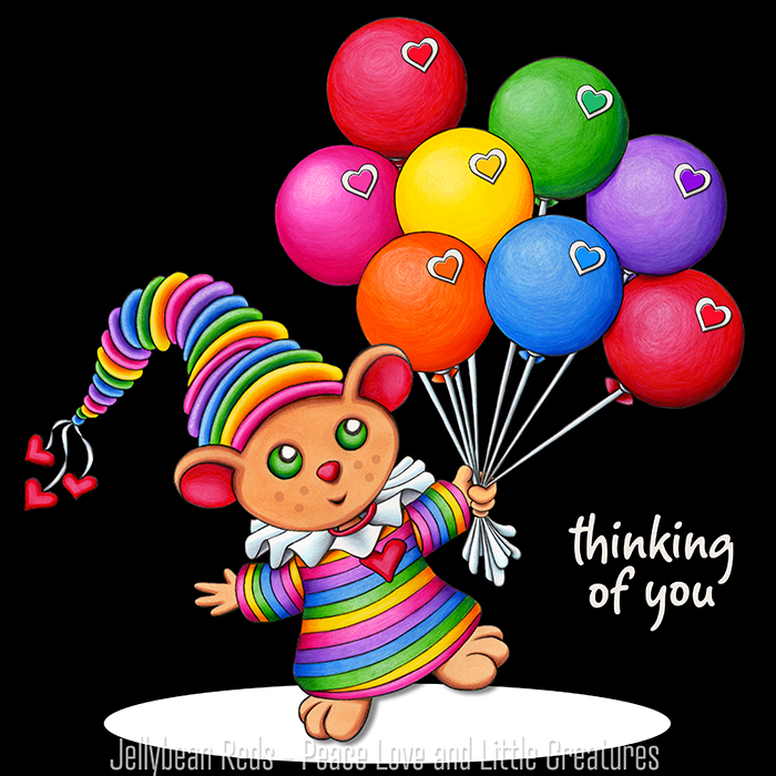 Teddy Bear with Rainbow Balloons - Thinking of You