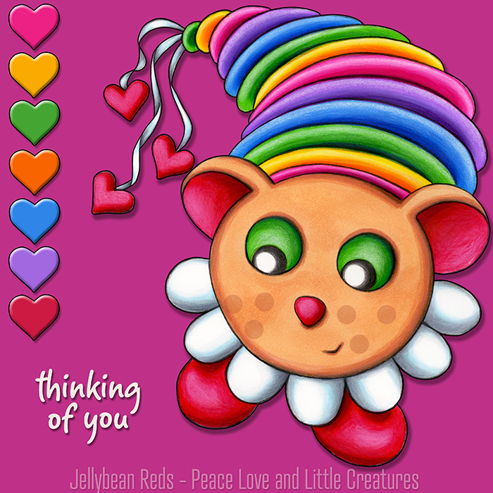 Teddy Bear Muse with Rainbow Hearts - Thinking of You