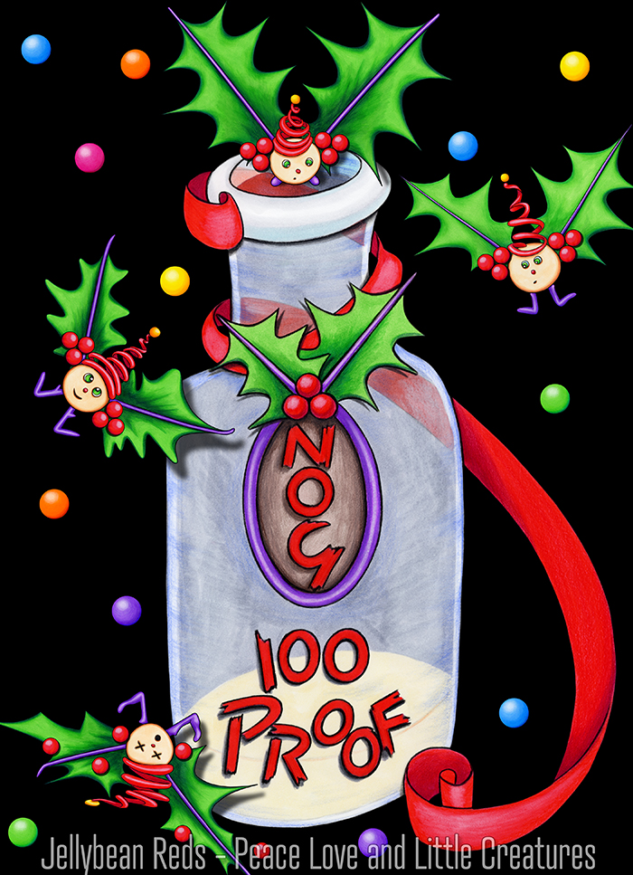 Bottle of Nog with Holly Zings