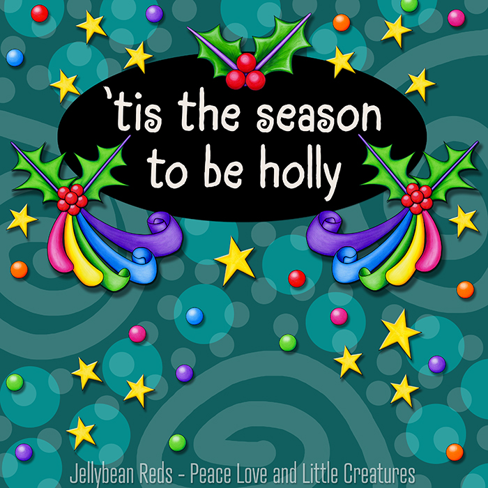 Rainbow-Ribboned Holly with Stars and Rainbow Orbs