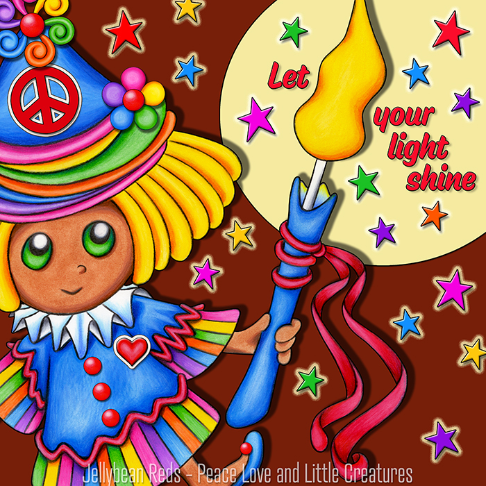 Girl dancing with candle amidst rainbow stars