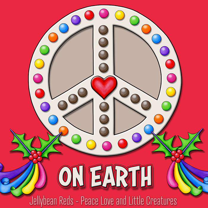 Peace Sign with Heart and Rainbow-Ribboned Holly