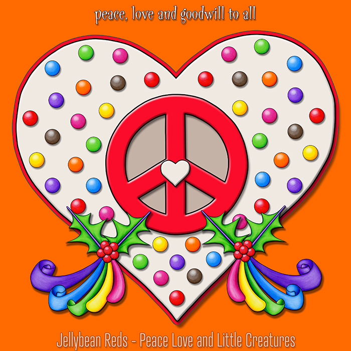 Heart with Peace Sign and Rainbow-Ribboned Holly