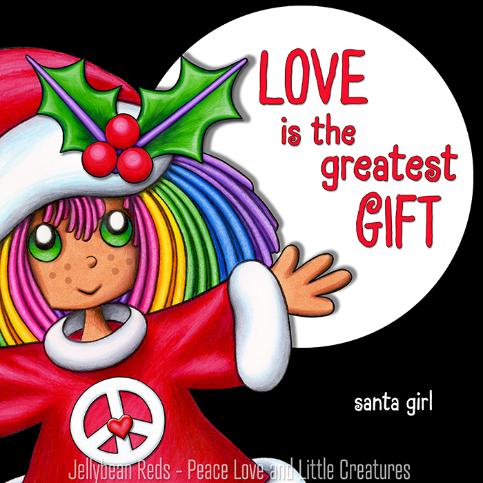 Santa Girl with Holly