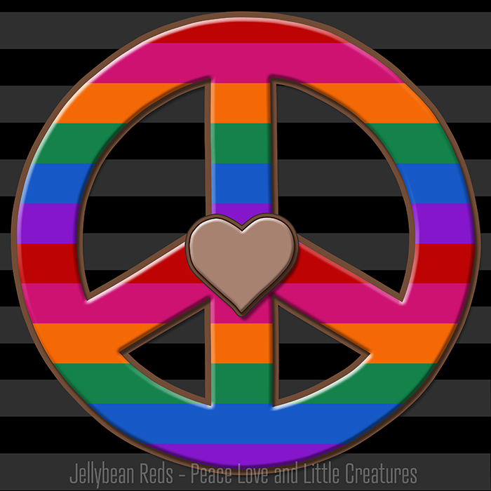 Dark Bard Peace Sign with Rainbow Stripes