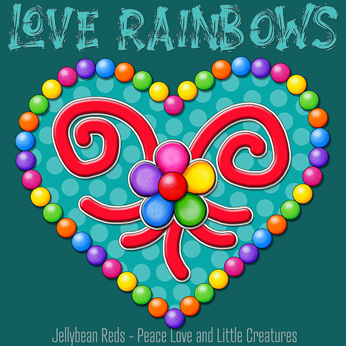 Heart with Rainbow Orbs and Rainbow Flower - Love Rainbows - Bright Aqua on Dark Aqua Background - Late Afternoon