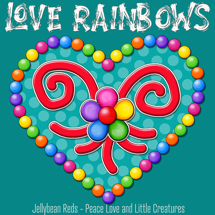 Heart with Rainbow Orbs and Rainbow Flower - Love Rainbows - Bright Aqua on Jewel Aqua Background - Afternoon