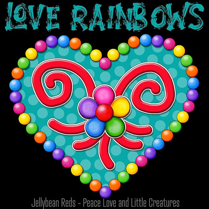 Heart with Rainbow Orbs and Rainbow Flower - Love Rainbows - Bright Aqua on Black Background - Electric Night