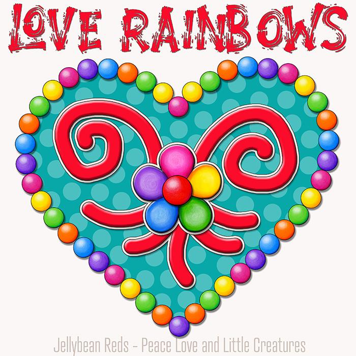 Heart with Rainbow Orbs and Rainbow Flower - Love Rainbows - Aqua on Cream Background - Early Morning