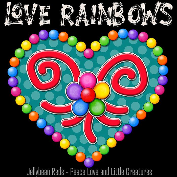 Heart with Rainbow Orbs and Rainbow Flower - Love Rainbows Jewel Aqua on Black Background - Night