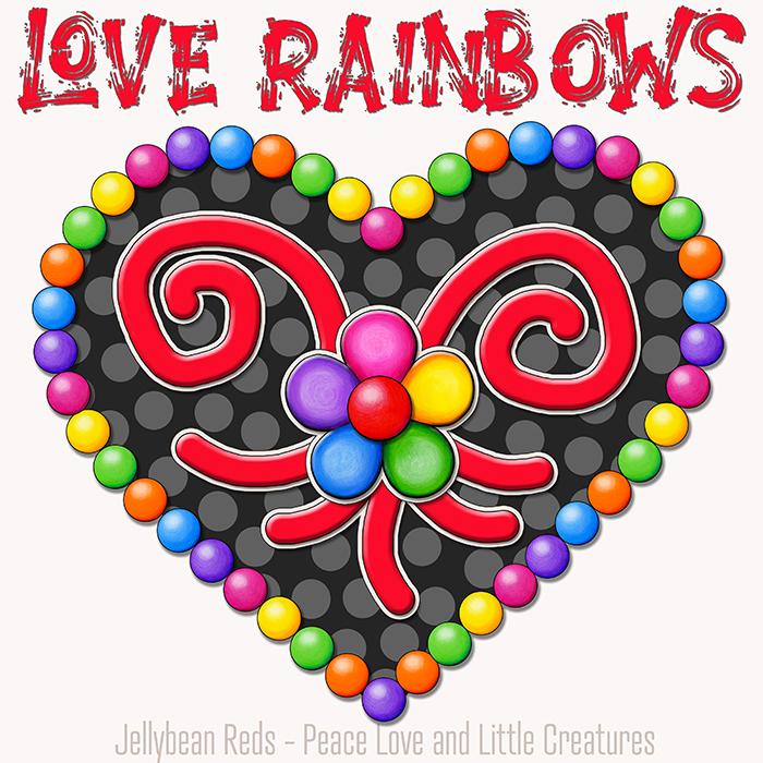 Heart with Rainbow Orbs and Rainbow Flower - Love Rainbows - Black on Cream Background - Early Morning