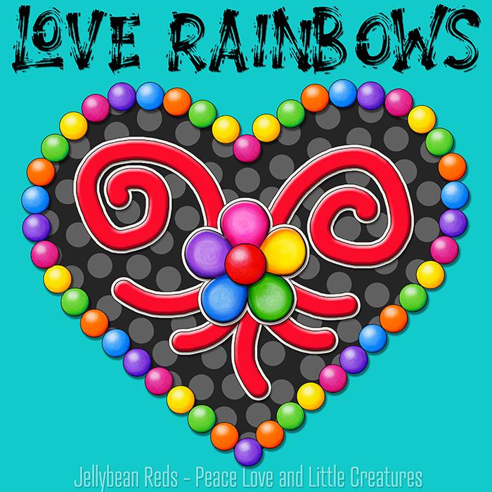 Heart with Rainbow Orbs and Rainbow Flower - Love Rainbows - Black on Aqua Background - Evening