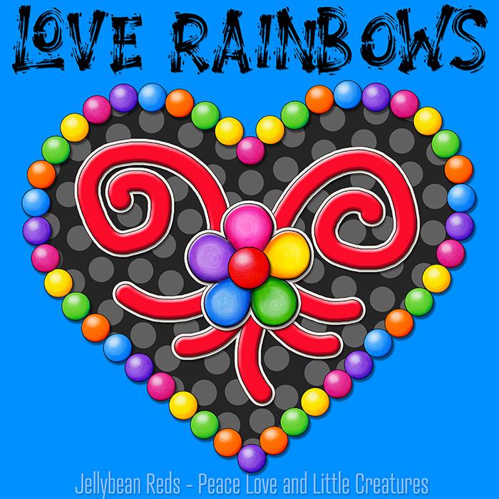 Heart with Rainbow Orbs and Rainbow Flower - Love Rainbows - Black on Blue Background - Evening