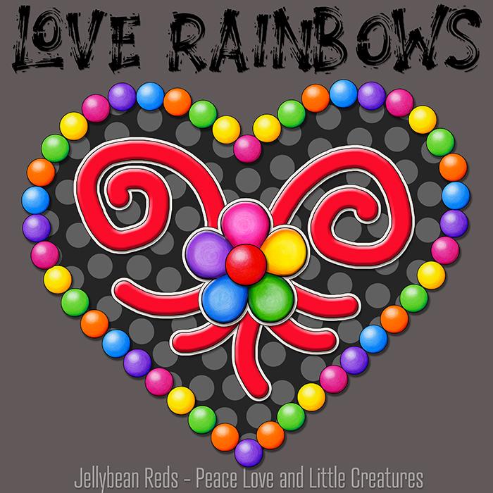 Heart with Rainbow Orbs and Rainbow Flower - Love Rainbows - Black on Gray Background - Evening