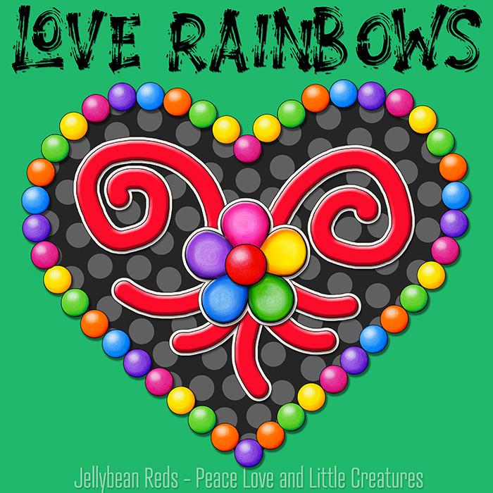 Heart with Rainbow Orbs and Rainbow Flower - Love Rainbows - Black on Green Background - Evening