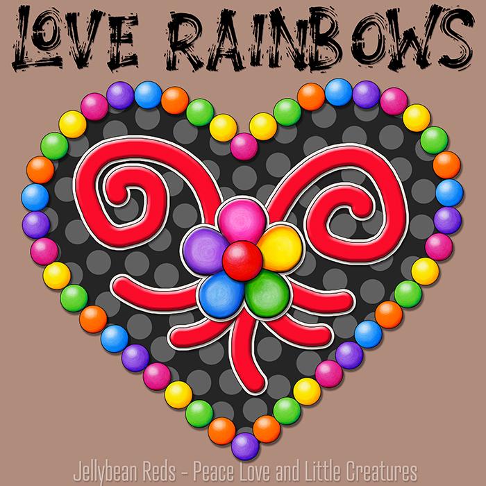 Heart with Rainbow Orbs and Rainbow Flower - Love Rainbows - Black on Mocha Background - Evening