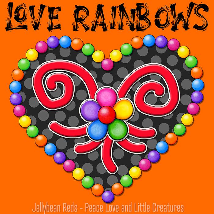 Heart with Rainbow Orbs and Rainbow Flower - Love Rainbows - Black on Orange Background - Evening
