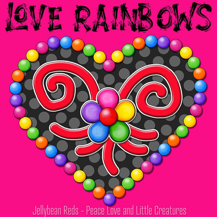 Heart with Rainbow Orbs and Rainbow Flower - Love Rainbows - Black on Pink Background - Evening