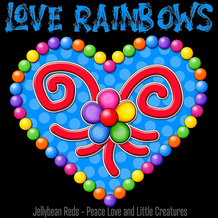 Heart with Rainbow Orbs and Rainbow Flower - Love Rainbows - Bright Blue on Black Background - Electric Night