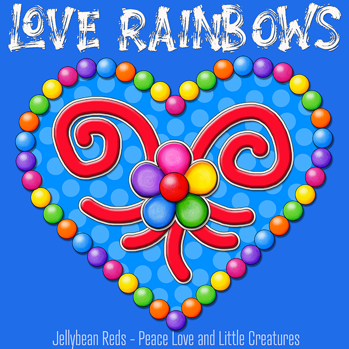 Heart with Rainbow Orbs and Rainbow Flower - Love Rainbows - Bright Blue on Jewel Blue Background - Afternoon
