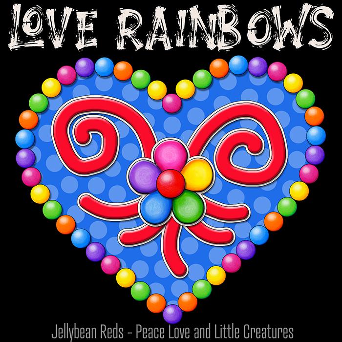 Heart with Rainbow Orbs and Rainbow Flower - Love Rainbows Jewel Blue on Black Background - Night