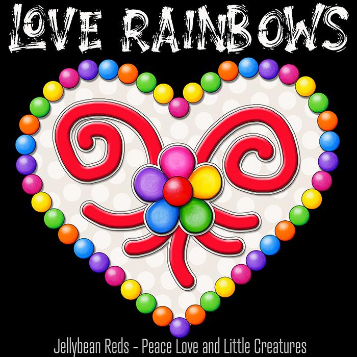 Heart with Rainbow Orbs and Rainbow Flower - Love Rainbows - Cream on Black Background - Mid Morning
