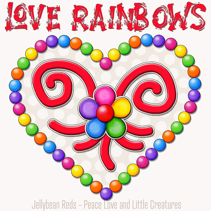 Heart with Rainbow Orbs and Rainbow Flower - Love Rainbows - Cream White on Cream Background - Early Morning