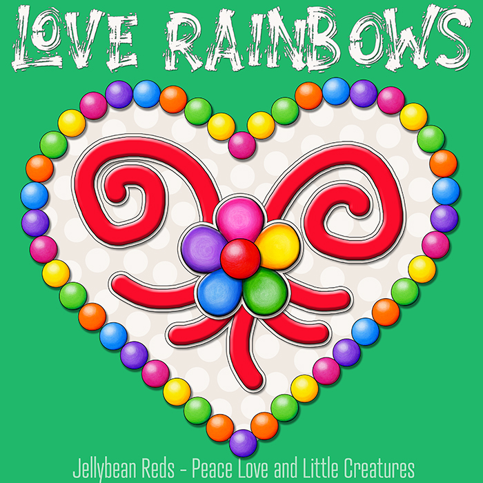 Heart with Rainbow Orbs and Rainbow Flower - Love Rainbows - Cream on Green Background - Mid Morning