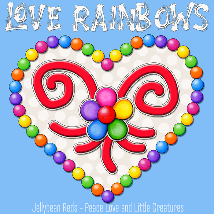 Heart with Rainbow Orbs and Rainbow Flower - Love Rainbows - Cream on Magic Blue Background - Mid Morning