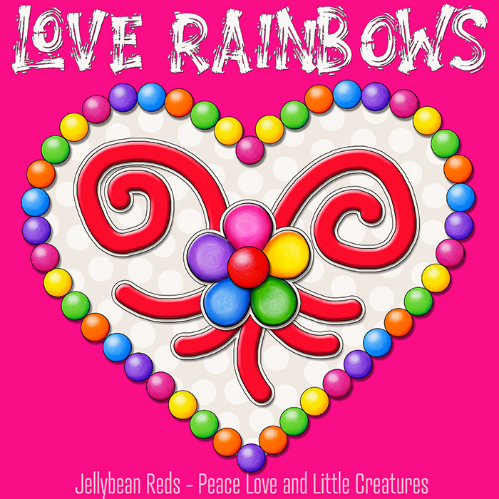 Heart with Rainbow Orbs and Rainbow Flower - Love Rainbows - Cream on Pink Background - Mid Morning