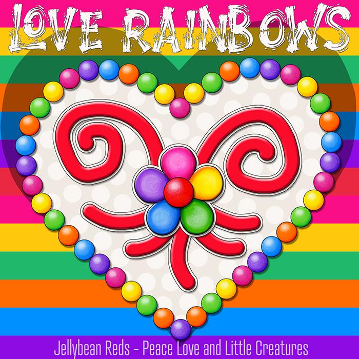Heart with Rainbow Orbs and Rainbow Flower - Love Rainbows - Cream on Rainbow Background - Mid Morning