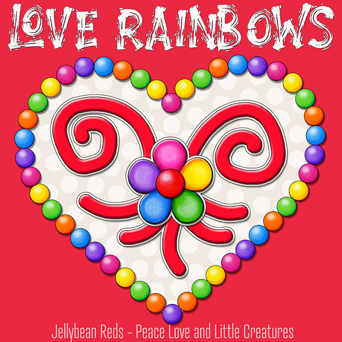 Heart with Rainbow Orbs and Rainbow Flower - Love Rainbows - Cream on Red Background - Mid Morning