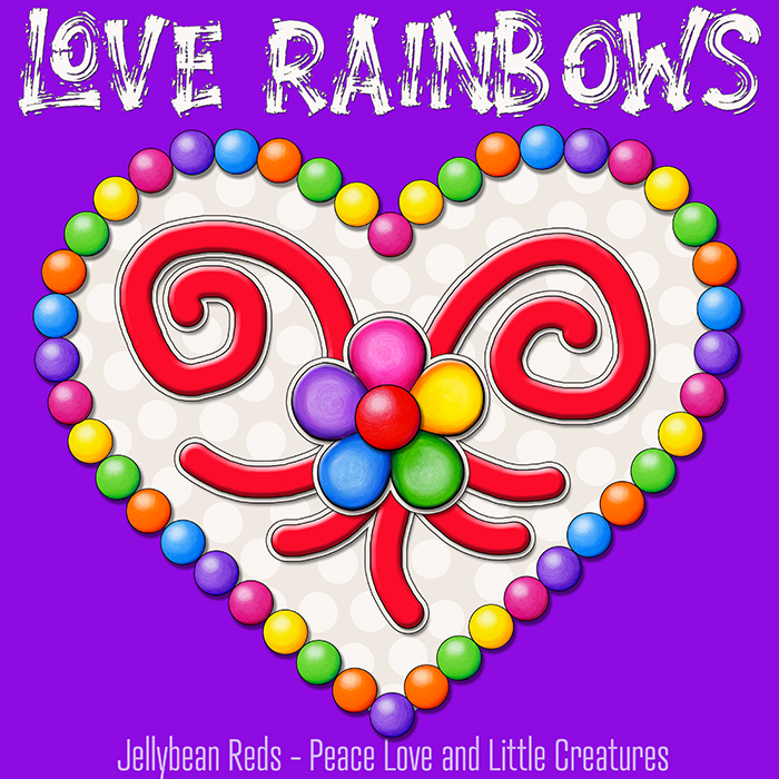 Heart with Rainbow Orbs and Rainbow Flower - Love Rainbows - Cream on Violet Background - Mid Morning