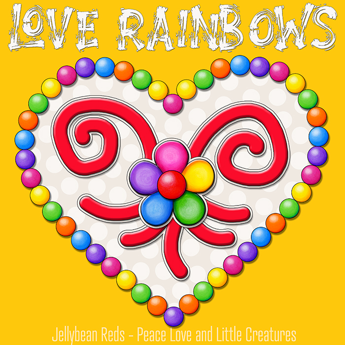 Heart with Rainbow Orbs and Rainbow Flower - Love Rainbows - Cream on Yellow Background - Mid Morning