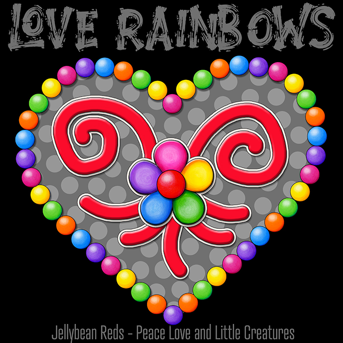 Heart with Rainbow Orbs and Rainbow Flower - Love Rainbows - Bright Gray on Black Background - Electric Night