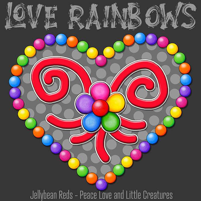 Heart with Rainbow Orbs and Rainbow Flower - Love Rainbows - Bright Gray on Dark Gray Background - Late Afternoon